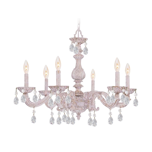 Crystorama Lighting Crystal Chandelier in Antique White Finish 5036-AW-CL-MWP