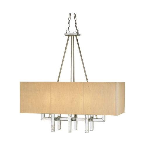Currey and Company Lighting Modern Pendant Lights in Silver Granello Finish 9025