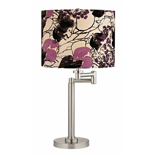 Design Classics Lighting Swing Arm Table Lamp with Floral Print Lamp Shade 1902-09 SH9500