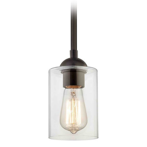 Design Classics Lighting Bronze Mini-Pendant Light with Cylindrical Shade 581-220 GL1040C