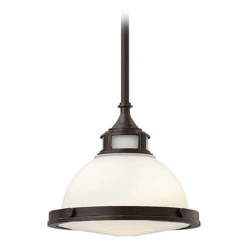 Hinkley Lighting Pendant Light with White Glass in Buckeye Bronze Finish 3127KZ