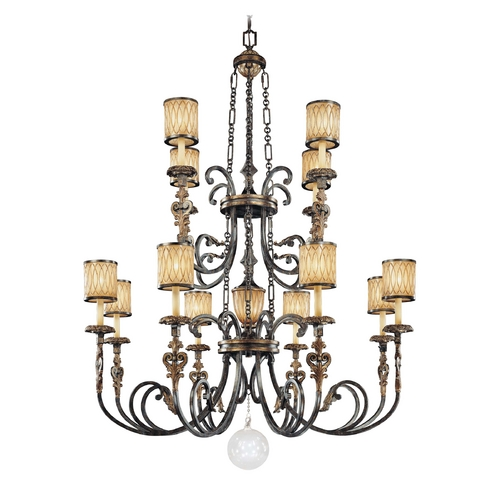 Metropolitan Lighting Old World Aged Patina Two-Tier Chandelier with Amber Art Glass N6499-270