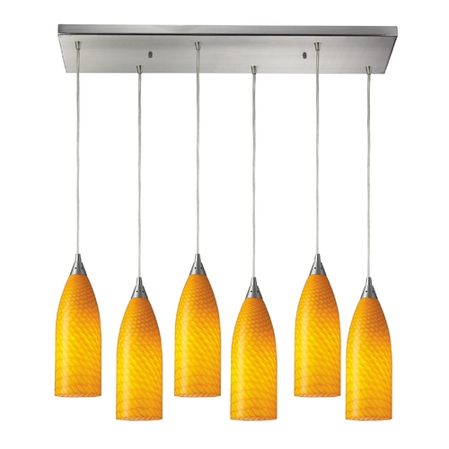 Elk Lighting Modern Multi-Light Pendant Light with Yellow Glass and 6-Lights 522-6RC-CN