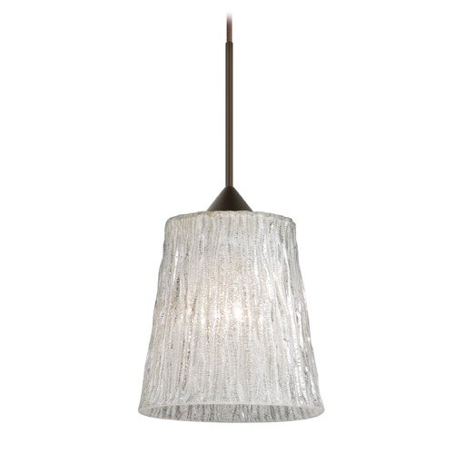 Besa Lighting Besa Lighting Nico Bronze Mini-Pendant Light with Fluted Shade 1XT-5125GL-BR