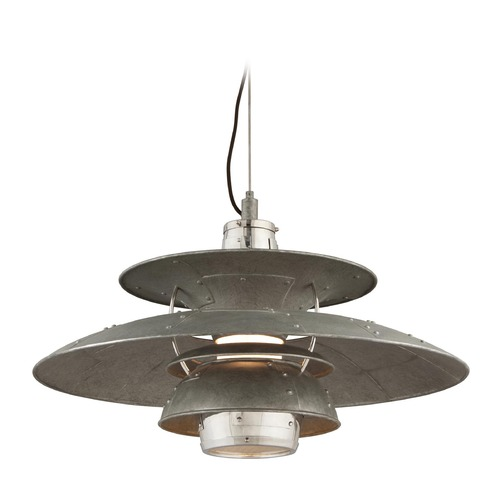 Troy Lighting Troy Lighting Idlewild Aviation Gray and Vintage Aluminum LED Pendant Light with Bowl / Dome Shade F4735