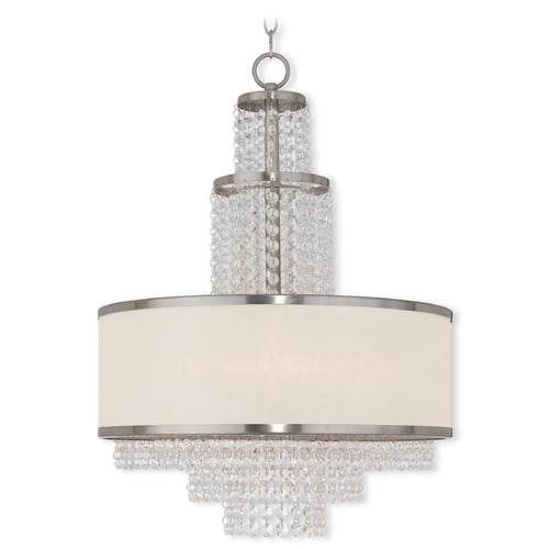Livex Lighting Livex Lighting Prescott Brushed Nickel Pendant Light with Drum Shade 50785-91