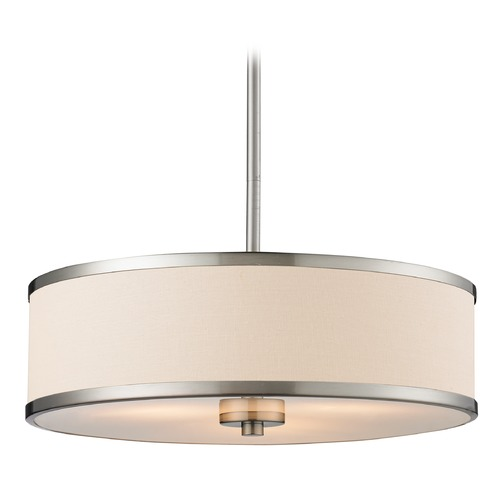 Z-Lite Z-Lite Cameo Brushed Nickel Pendant Light with Drum Shade 183-16