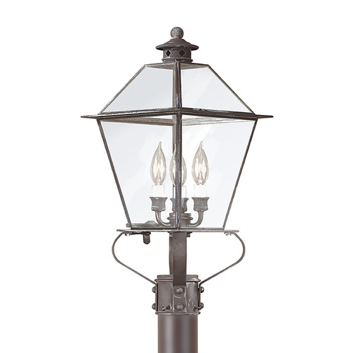 Troy Lighting Post Light with Clear Glass in Charred Iron Finish P8955CI