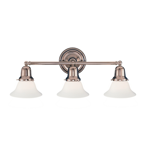 Hudson Valley Lighting Bathroom Light with White Glass in Satin Nickel Finish 583-SN-415M