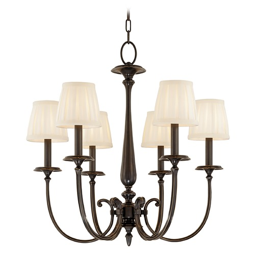 Hudson Valley Lighting Chandelier with White Shades in Old Bronze Finish 5216-OB