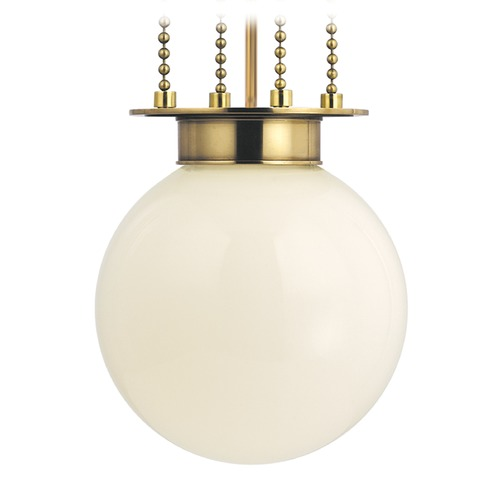 Hudson Valley Lighting Blaine Aged Brass Pendant Light with Bowl Shade 4214-AGB-OP