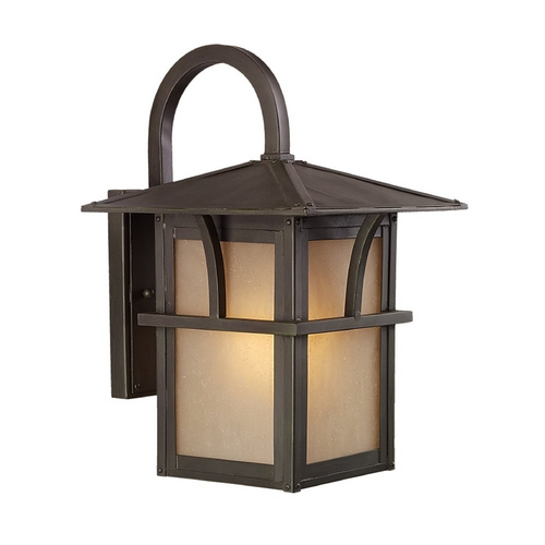 Sea Gull Lighting Outdoor Wall Light with Amber Glass in Statuary Bronze Finish 88881BLE-51