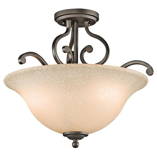 Kichler Lighting Kichler Semi-Flushmount Light with White Scavo Glass in Olde Bronze 43232OZ