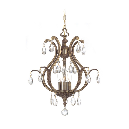 Crystorama Lighting Crystal Pendant Light in Antique Brass Finish 5560-AB-CL-S
