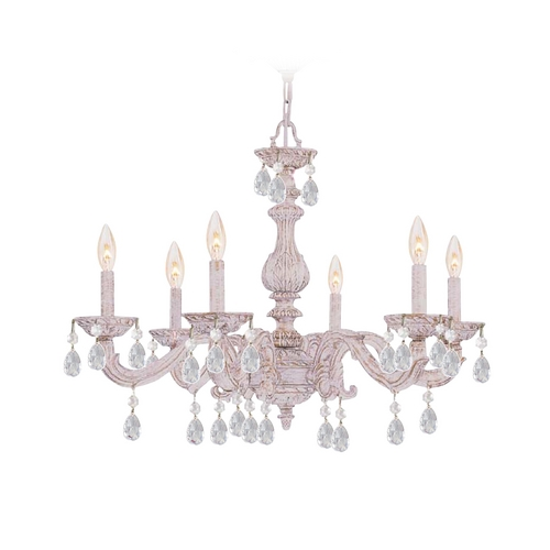 Crystorama Lighting Crystal Chandelier in Antique White Finish 5036-AW-CL-SAQ