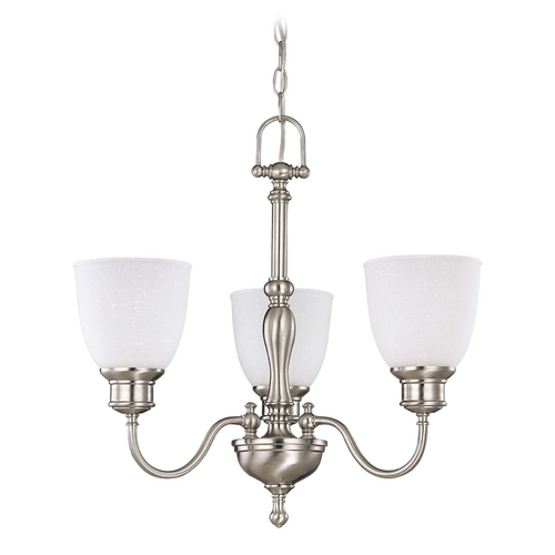Nuvo Lighting Mini-Chandelier with White Glass in Brushed Nickel Finish 60/2773