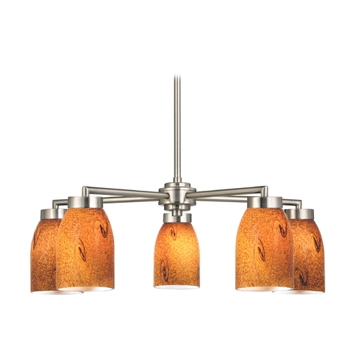 Design Classics Lighting Modern Chandelier with Brown Art Glass in Satin Nickel Finish 590-09 GL1001D