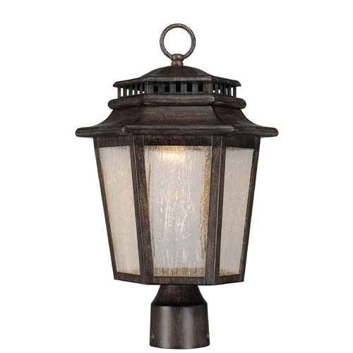 Minka Lavery LED Post Light with Clear Glass in Iron Oxide Finish 8276-A357-L