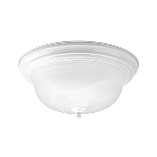 Progress Lighting Progress Flushmount Light with Alabaster Glass in White Finish P3925-30