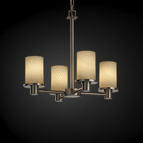 Justice Design Group Justice Design Group Fusion Collection Mini-Chandelier FSN-8510-10-WEVE-NCKL