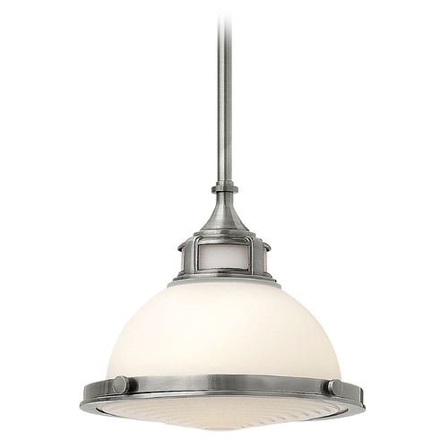 Hinkley Lighting Pendant Light with White Glass in Polished Antique Nickel Finish 3127PL