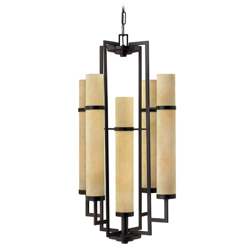 Hinkley Lighting Hinkley 10-Light Chandelier with Beige/Cream Glass in Rustic Iron 4099RI