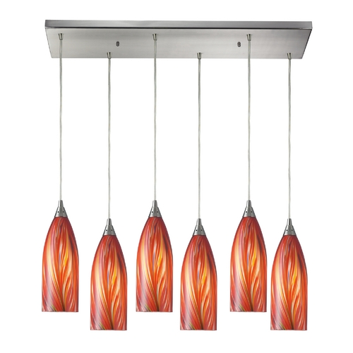 Elk Lighting Modern Multi-Light Pendant Light with Multi-Color Glass and 6-Lights 522-6RC-M