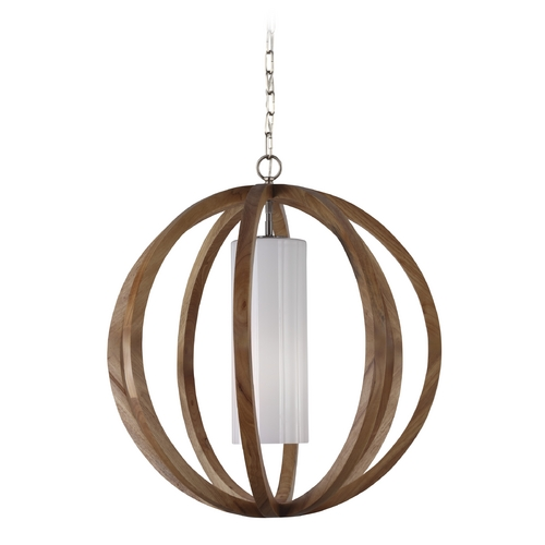 Feiss Lighting Feiss Lighting Allier Light Wood / Brushed Steel Pendant Light with Cylindrical Shade F2952/1LW/BS