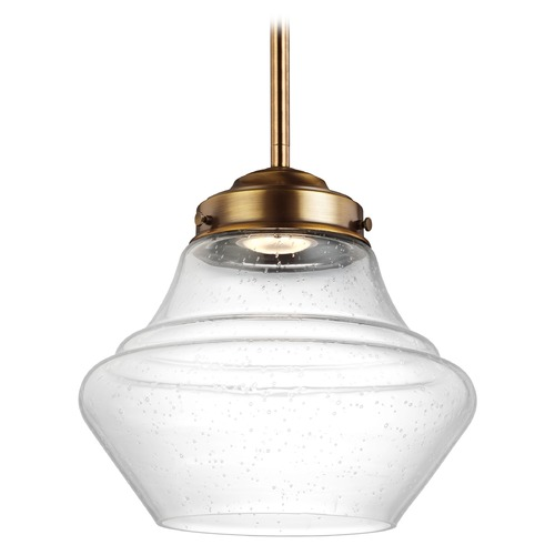 Feiss Lighting Feiss Lighting Alcott Aged Brass LED Mini-Pendant Light P1405AGB-LED