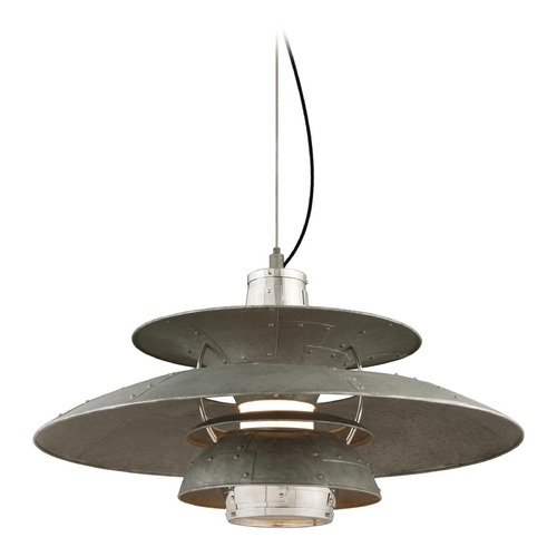 Troy Lighting Troy Lighting Idlewild Aviation Gray and Vintage Aluminum LED Pendant Light with Bowl / Dome Shade F4736