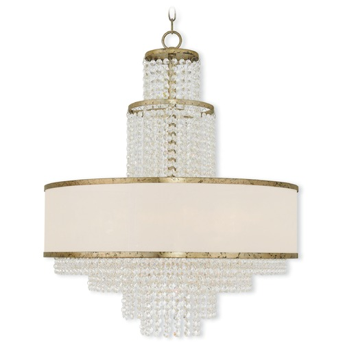 Livex Lighting Livex Lighting Prescott Hand Applied Winter Gold Pendant Light with Drum Shade 50786-28