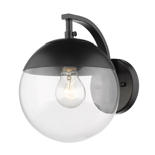 Golden Lighting Golden Lighting Dixon Black Sconce with Black Accent 3219-1WBLK-BLK