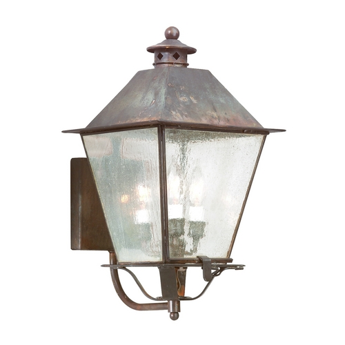 Troy Lighting Outdoor Wall Light with Clear Glass in Natural Aged Brass Finish B9134NAB