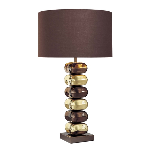 George Kovacs Lighting Modern Table Lamp with Brown Tones Shade in Chocolate Chrome/brass Finish P730-631