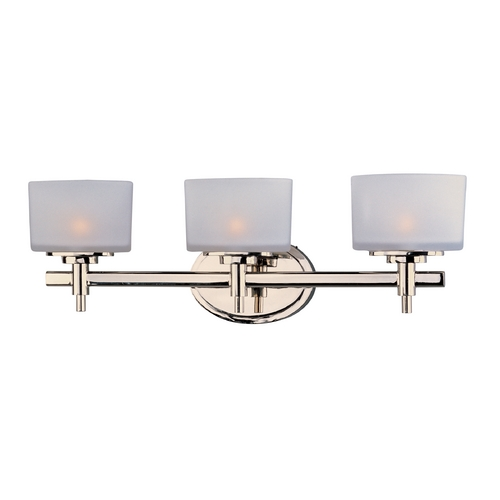 Maxim Lighting Bathroom Light with White Glass in Polished Nickel Finish 9023SWPN