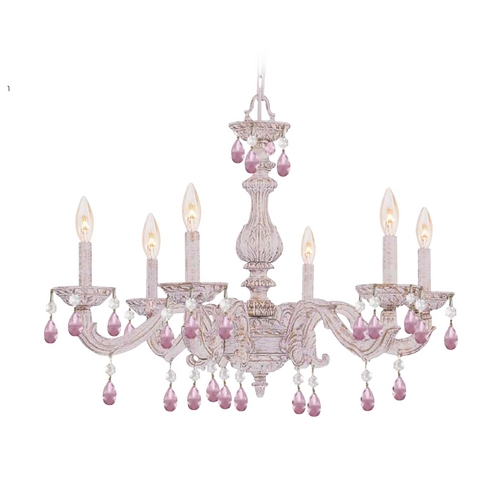 Crystorama Lighting Crystal Chandelier in Antique White Finish 5036-AW-RO-MWP