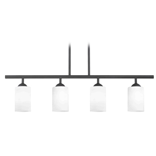 Design Classics Lighting Modern Island Light with White Glass in Matte Black Finish 718-07 GL1028C