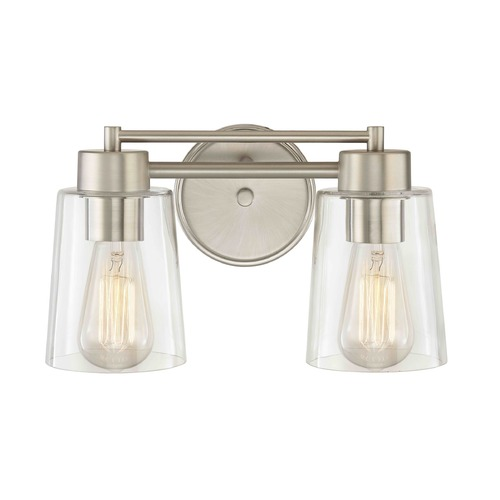 Design Classics Lighting Satin Nickel Bathroom Light 702-09 GL1027-CLR