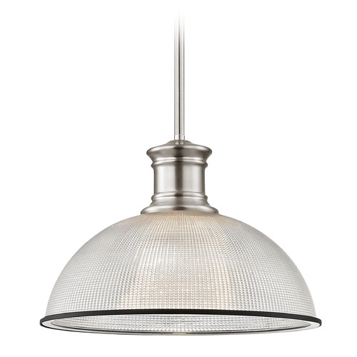 Design Classics Lighting Industrial Pendant Light Prismatic Glass Black / Nickel 13.13-Inch Wide 1761-09 G1780-FC R1780-07