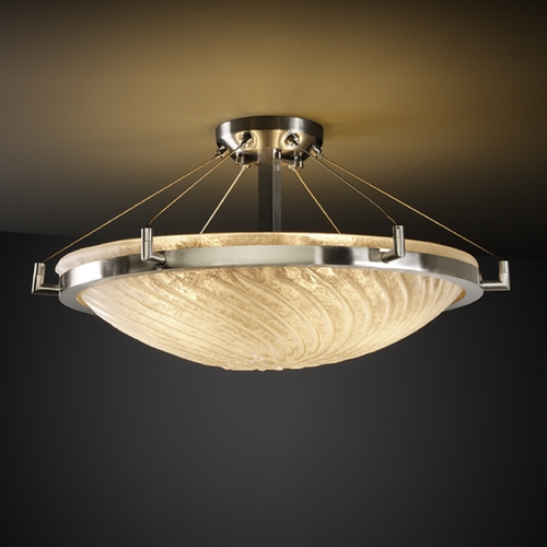 Justice Design Group Justice Design Group Veneto Luce Collection Semi-Flushmount Light GLA-9682-35-WHTW-NCKL