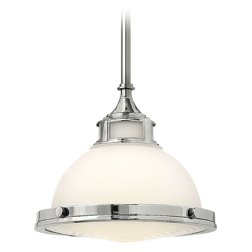 Hinkley Lighting Pendant Light with White Glass in Chrome Finish 3127CM