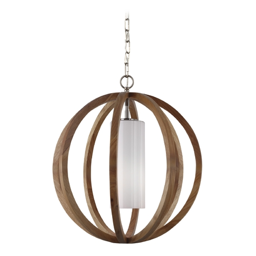Feiss Lighting Feiss Lighting Allier Light Wood / Brushed Steel Pendant Light with Cylindrical Shade F2953/1LW/BS