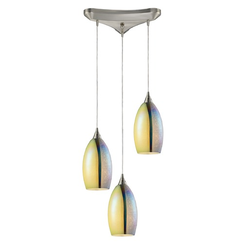 Elk Lighting Elk Lighting Horizon Satin Nickel Multi-Light Pendant with Oval Shade 31495/3