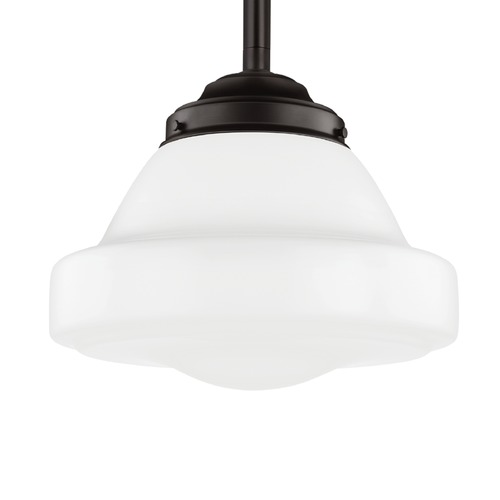 Feiss Lighting Schoolhouse Pendant Light Opal Glass Bronze 13.875-Inch Wide by Feiss Lighting P1381ORB