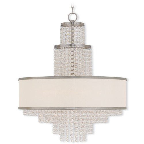 Livex Lighting Livex Lighting Prescott Brushed Nickel Pendant Light with Drum Shade 50786-91