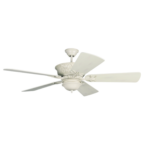 Craftmade Lighting Craftmade Lighting Pavilion Antique White Distressed Ceiling Fan with Light K11247
