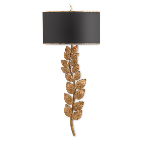 Currey and Company Lighting Currey and Company Birdsong Textured Gold Leaf/satin Black Sconce 5221