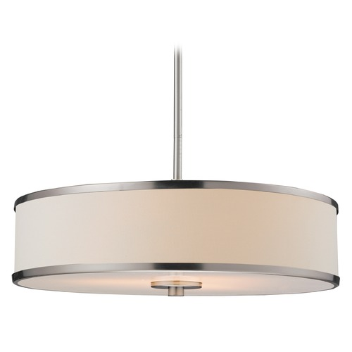 Z-Lite Z-Lite Cameo Brushed Nickel Pendant Light with Drum Shade 183-20