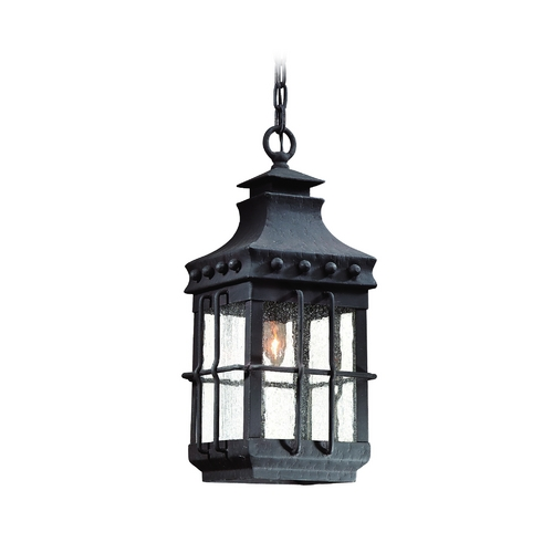 Troy Lighting Outdoor Hanging Light with Clear Glass in Natural Bronze Finish FCD8973NB