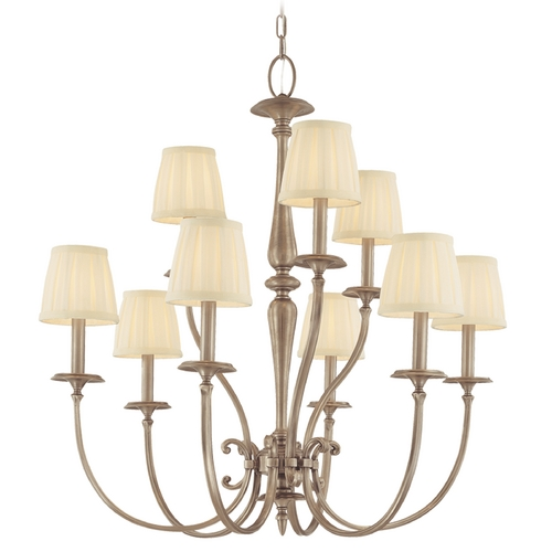 Hudson Valley Lighting Chandelier with White Shades in Antique Nickel Finish 5219-AN